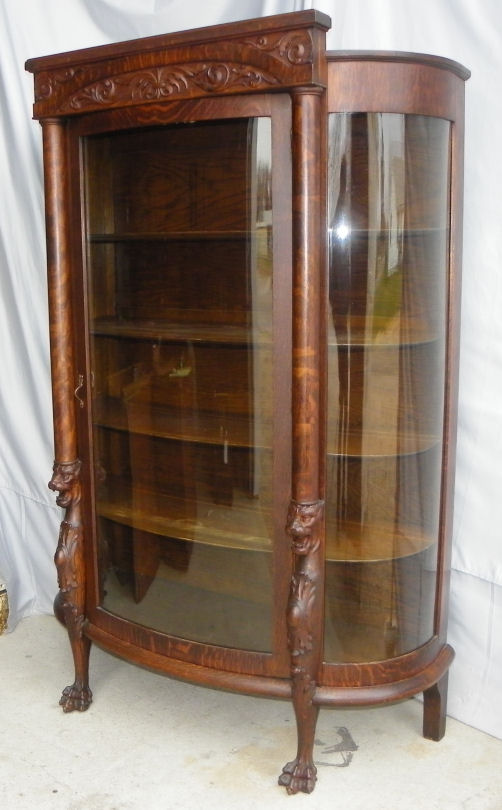 Display Shelves For Collectibles >> Bargain John's Antiques | Antique Oak China or Curio Cabinet - Lion heads and claw feet ...