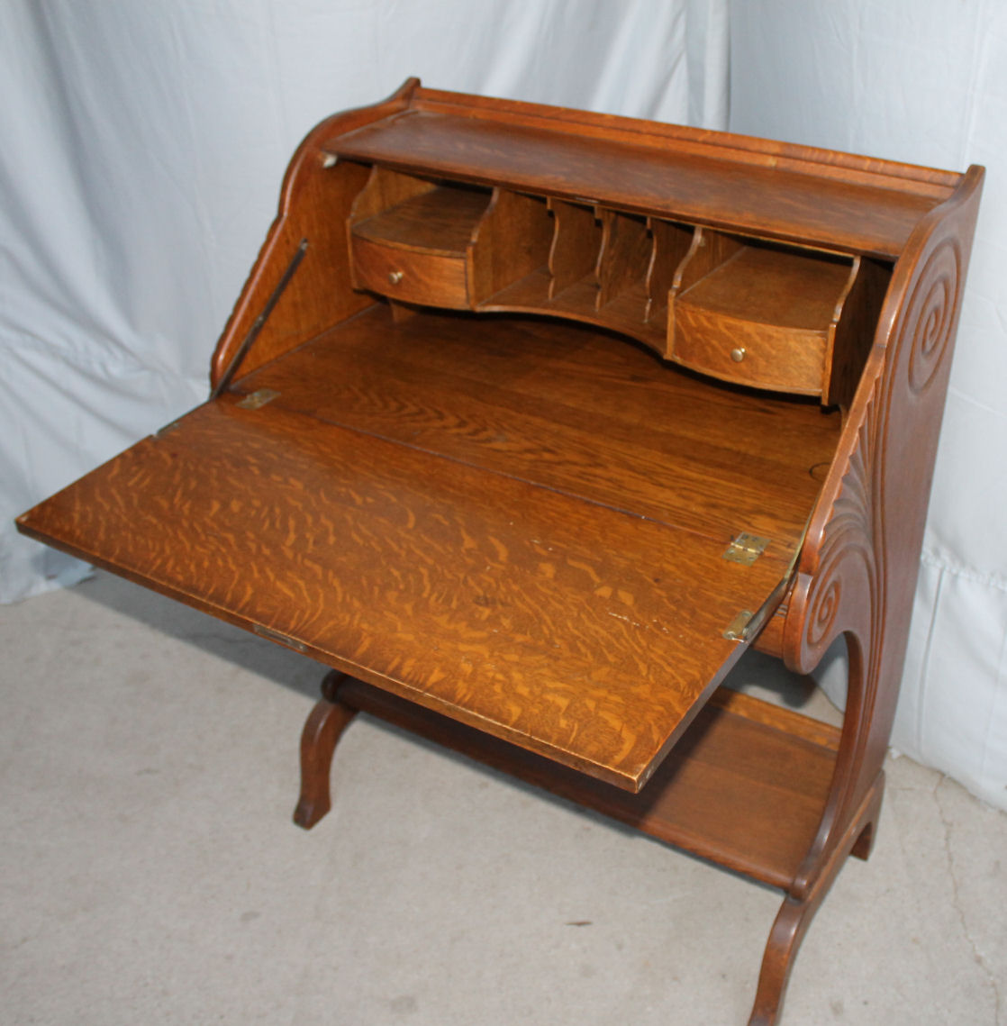 Antique Oak Drop Front Desk Small Writing Stylish
