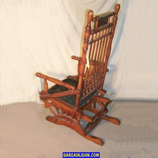 ... Antique Wooden Glider Rocker with Upholstered Seat. Sold - Bargain John's Antiques Victorian Antique Wooden Glider Rocker