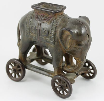 Cast Iron Antique Elephant Bank on Wheels