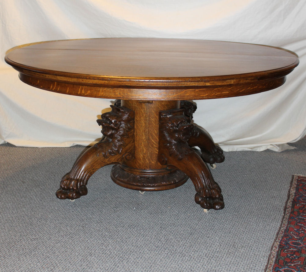 Bargain Johns Antiques Round Oak Dining Table With Carved Lion