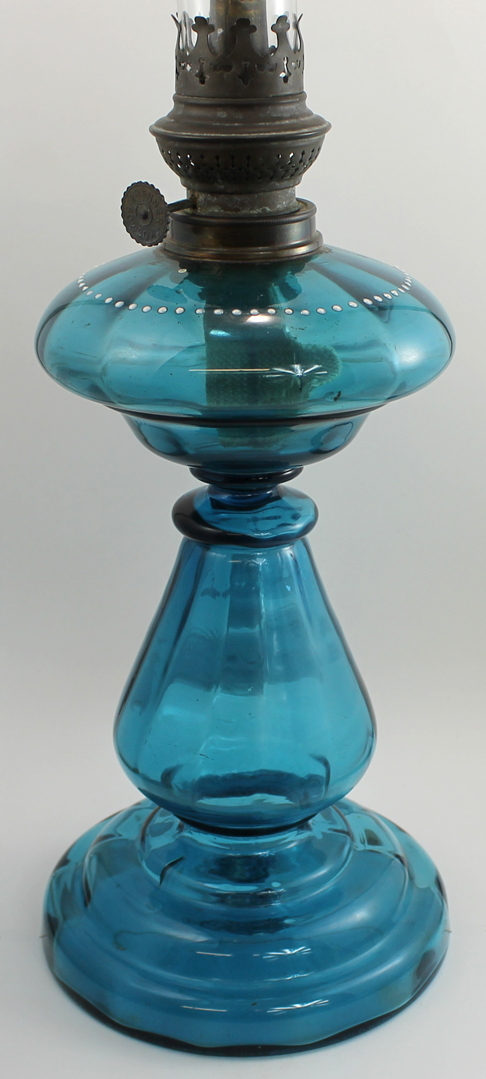 Bargain John S Antiques Mary Gregory Teal Blue Oil Lamp