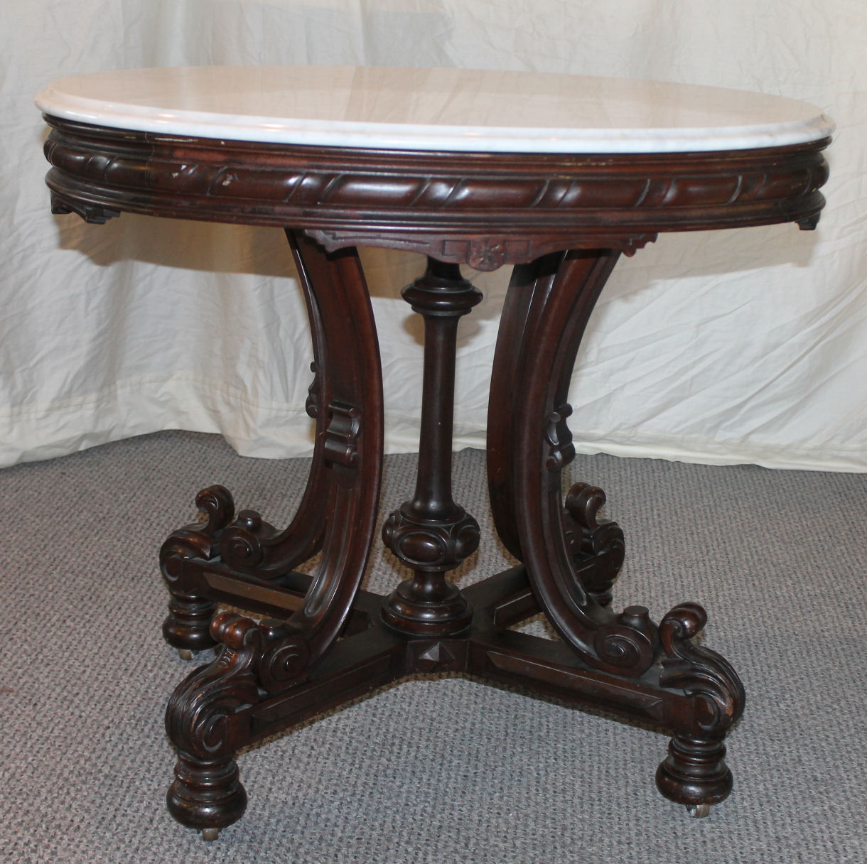 Bargain John S Antiques Walnut Oval Marble Top Parlor