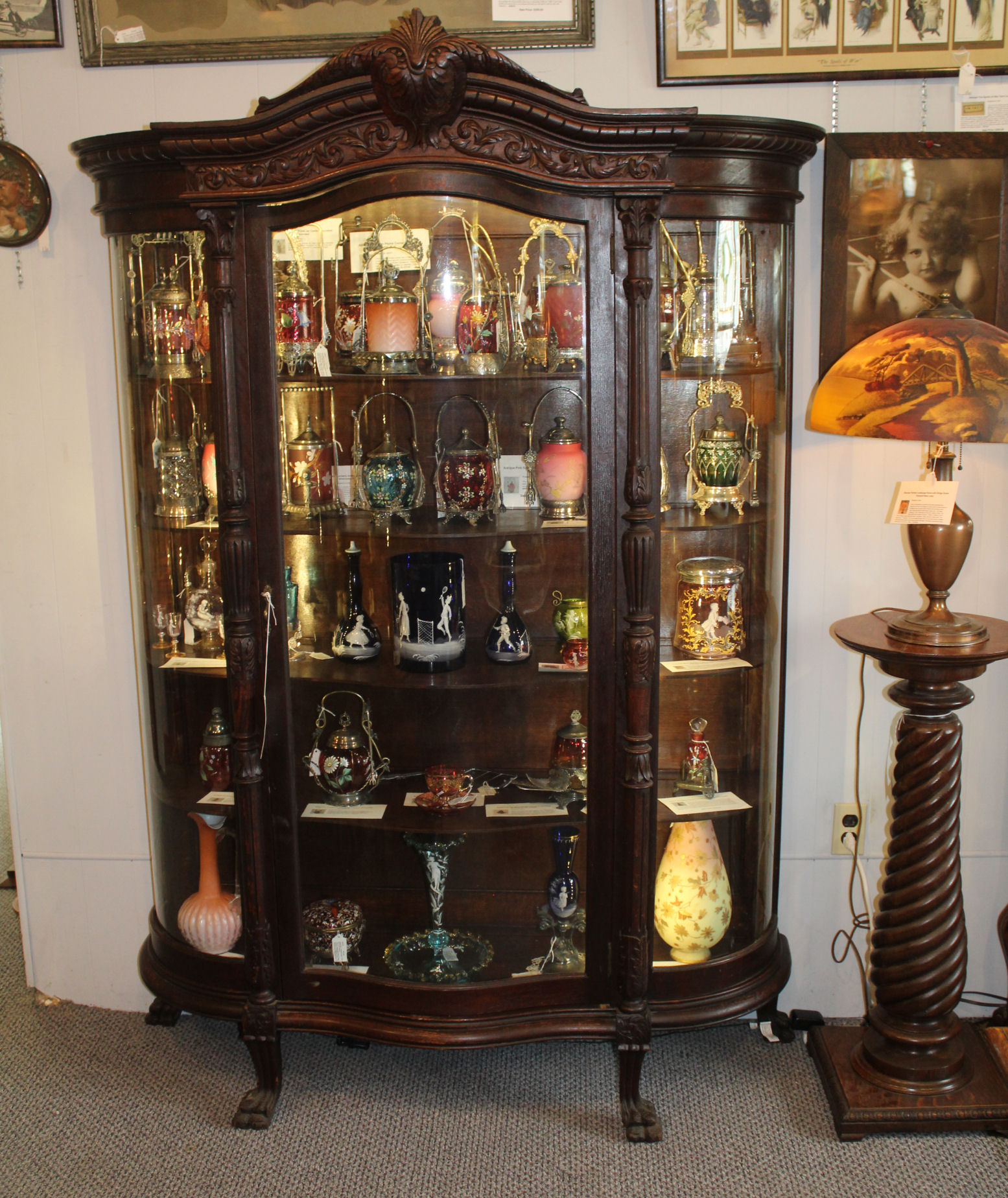 Bargain Johns Antiques Antique Large Oak Curved Glass China Jpg 1555x1848 China  Closets 1900