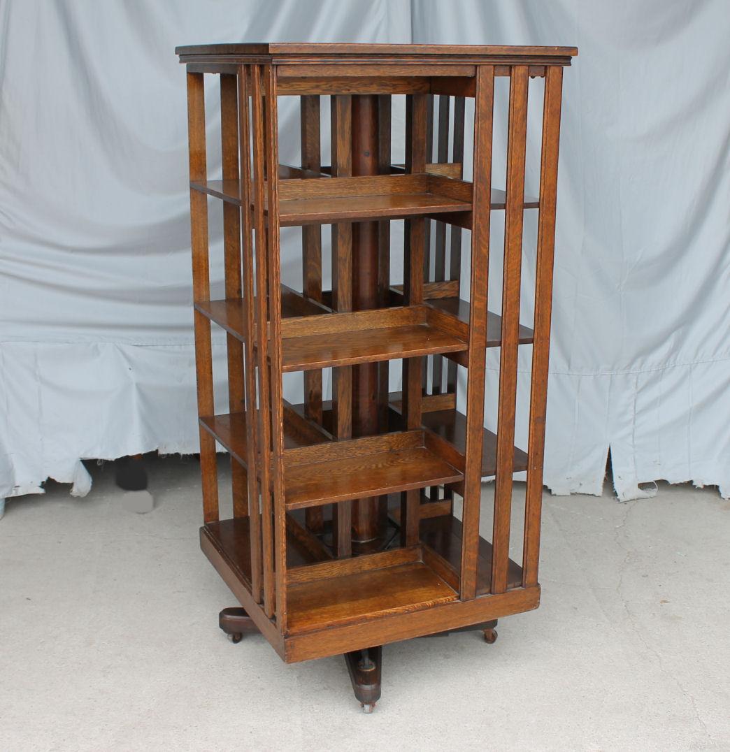 Bargain John S Antiques Antique Revolving Oak Bookcase