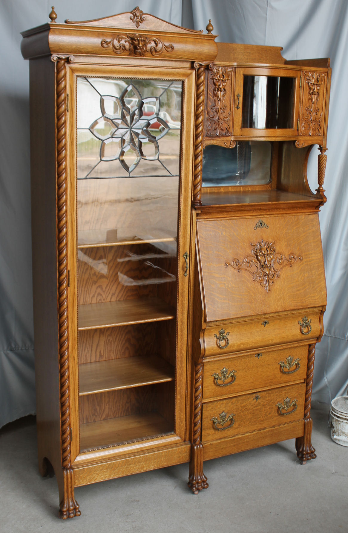 Terrific Antique Oak Side By Side Secretary Bookcase With Leaded Glass Download Free Architecture Designs Embacsunscenecom