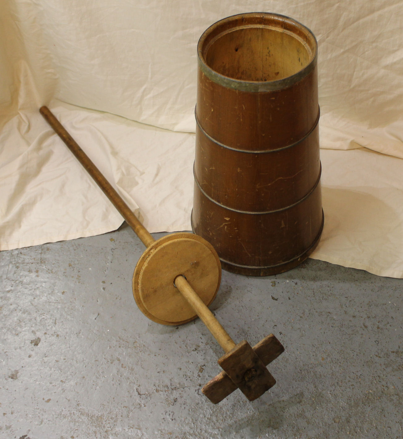 Bargain Johns Antiques   Antique Wooden Butter Churn with