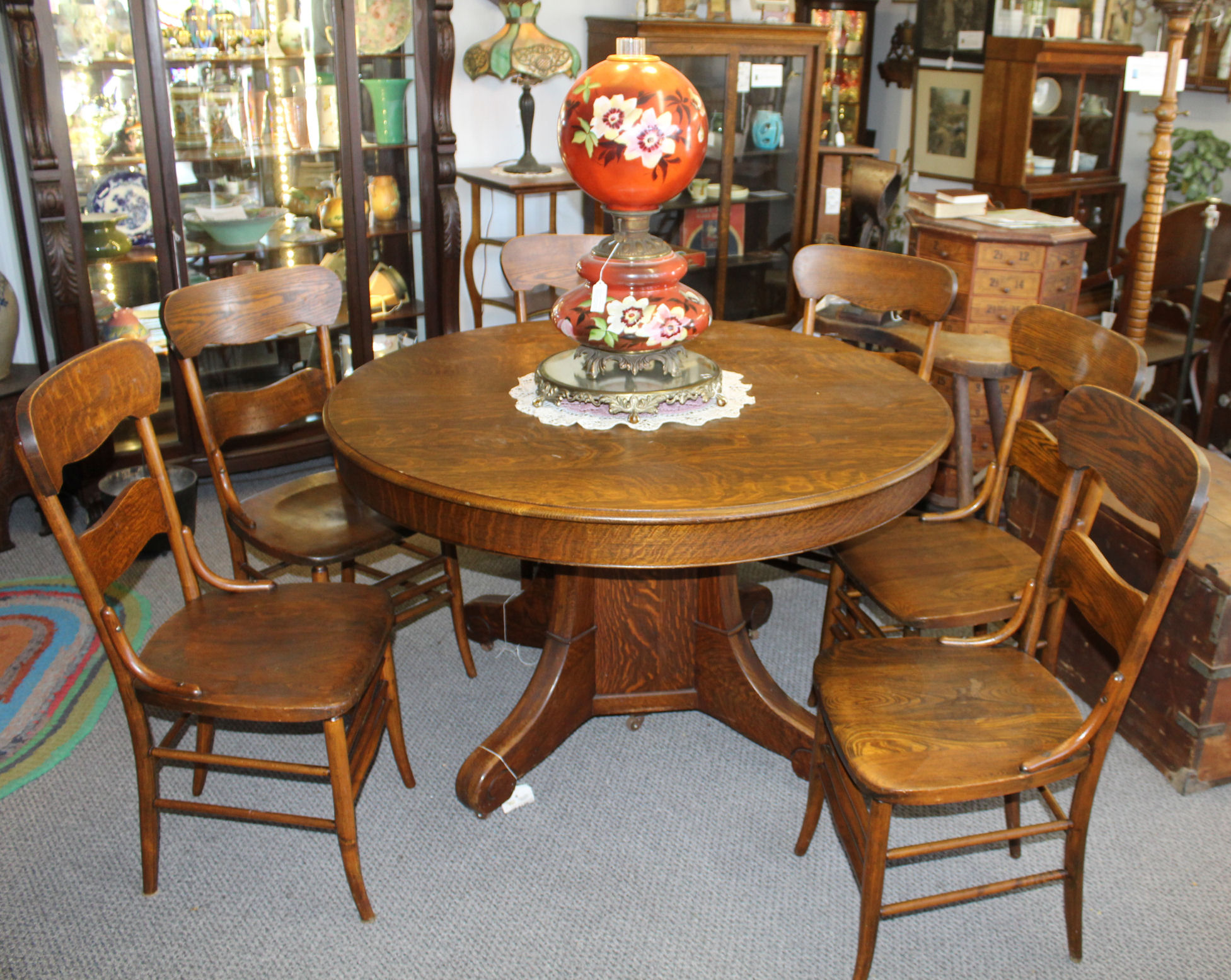 Antique Round Quarter Sawn Oak Dining Table With Two Leaves 1 550