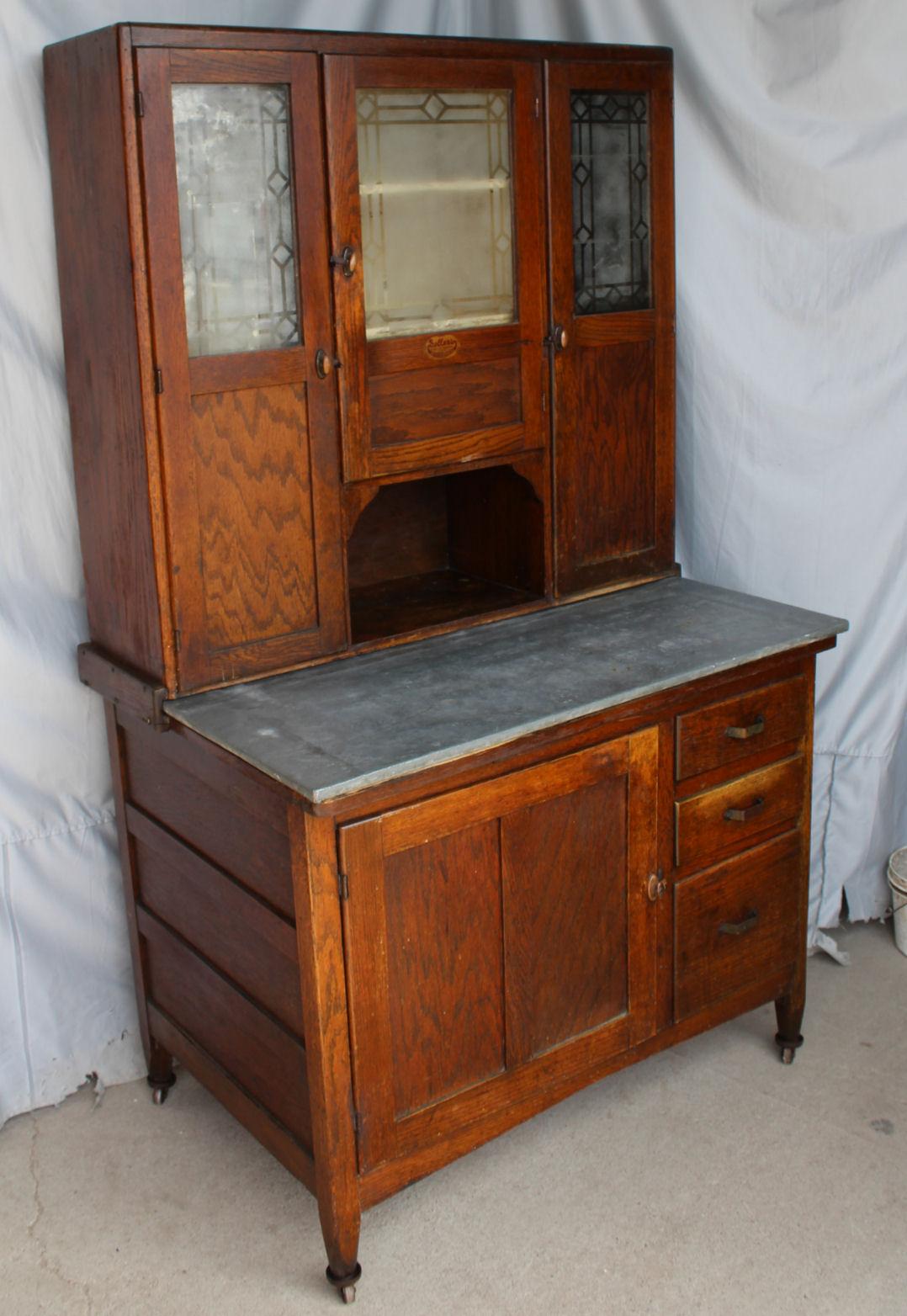 Antique Oak Sellers Kitchen Cabinet Original Finish