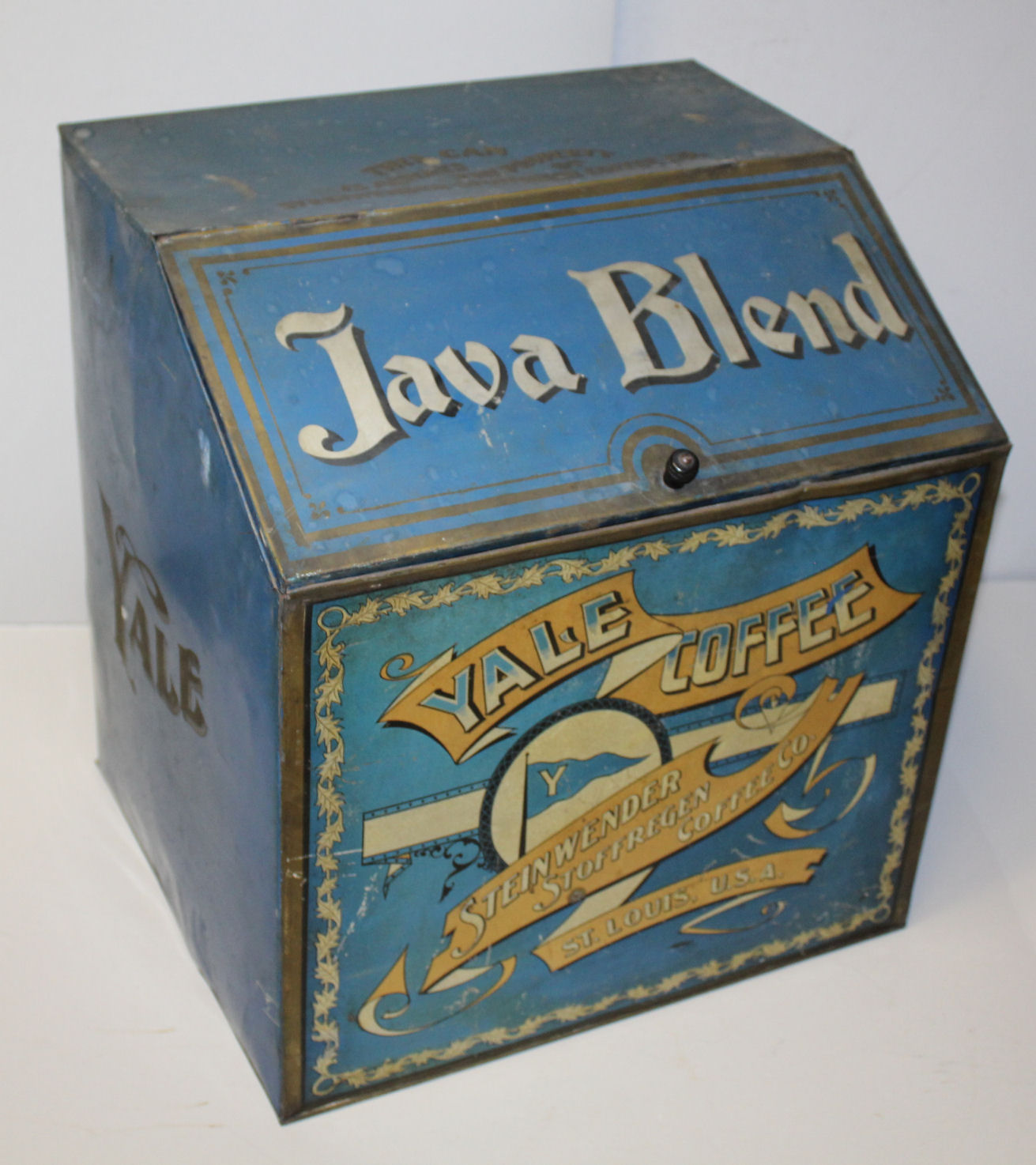Antique Country Store Advertising Display Java Blend Coffee Bin Tin -  painted blue