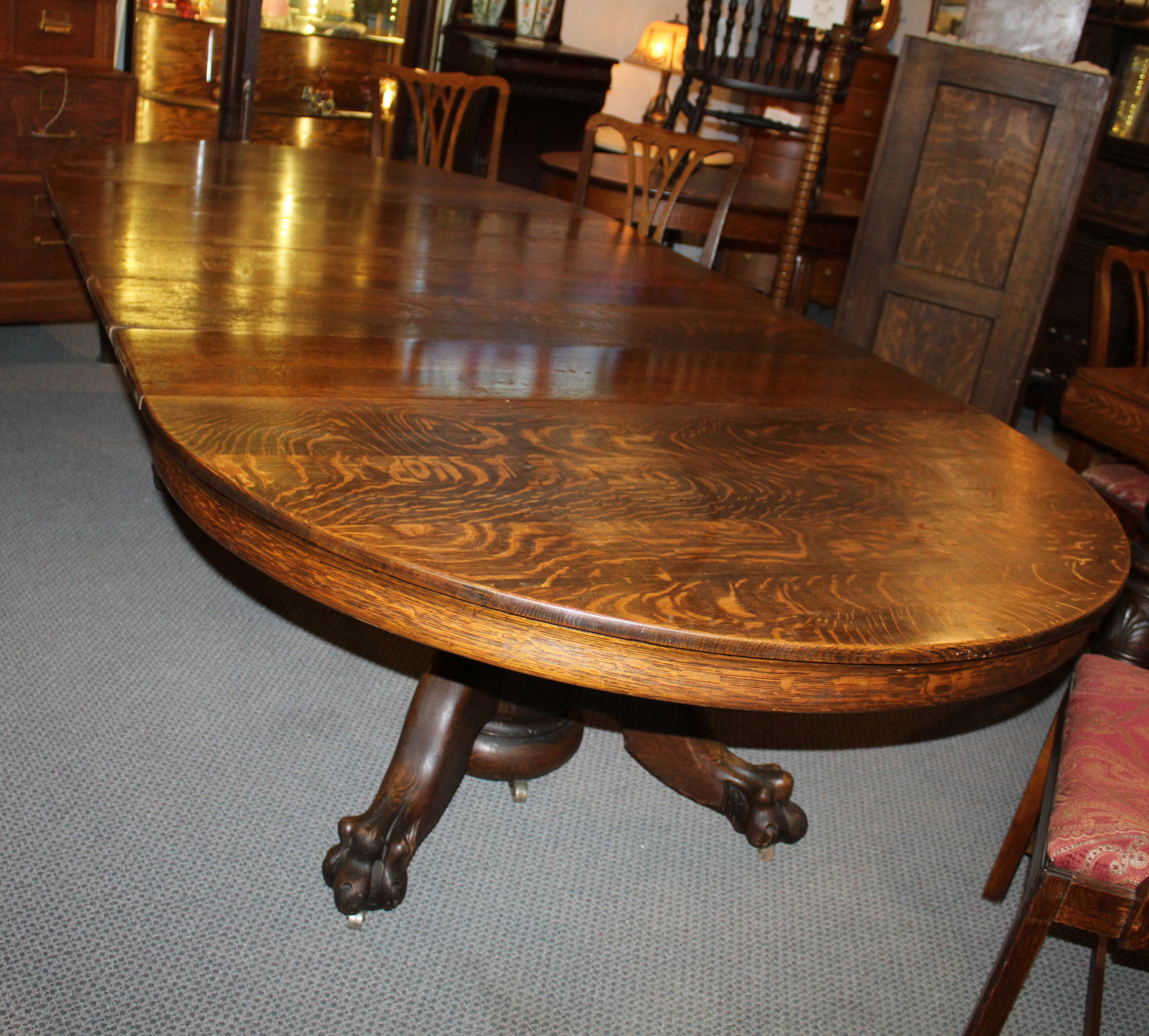 Bargain John S Antiques Antique Round Oak Dining Table Carved Claw Feet 5 Leaves Original Finish 54 Inches Bargain John S Antiques