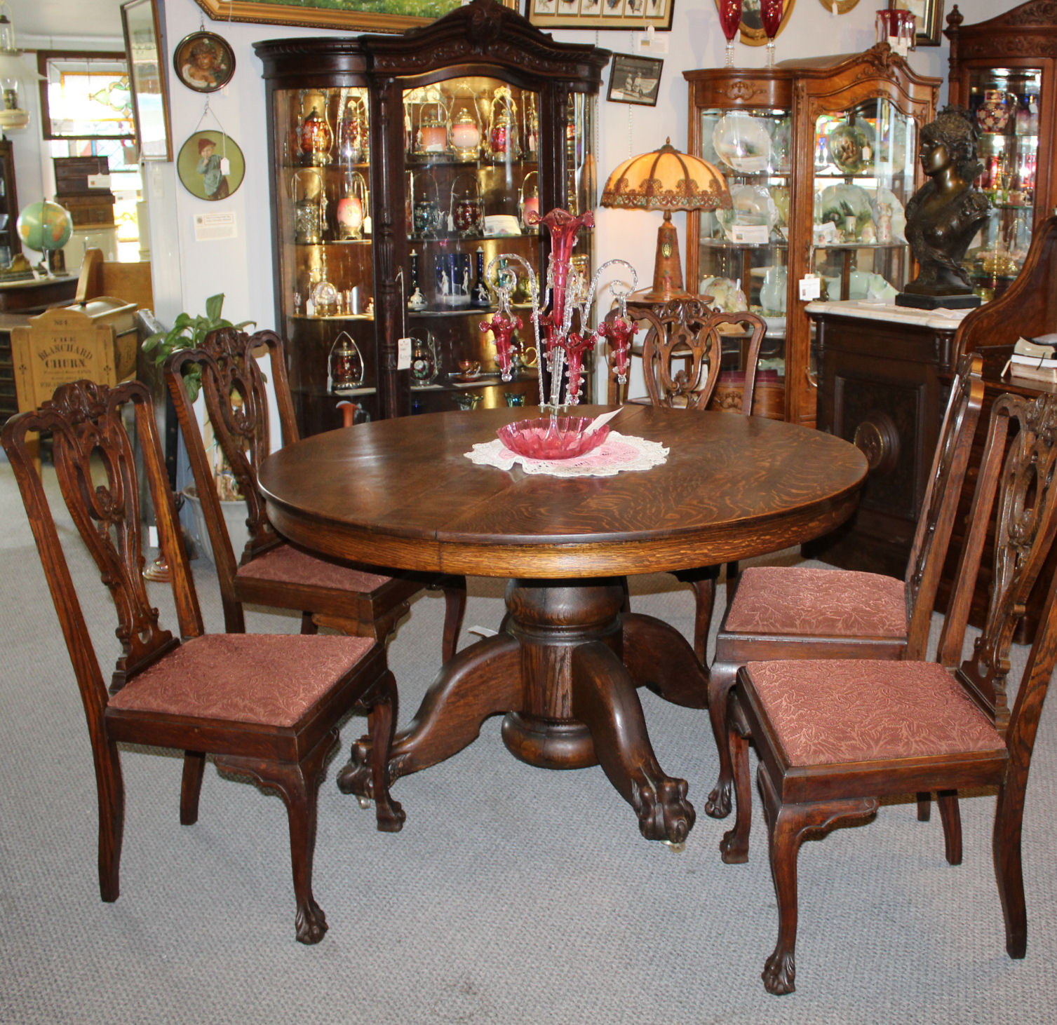 Antique Round Oak Dining Table Carved Claw Feet 5 Leaves Original Finish 54 Inches