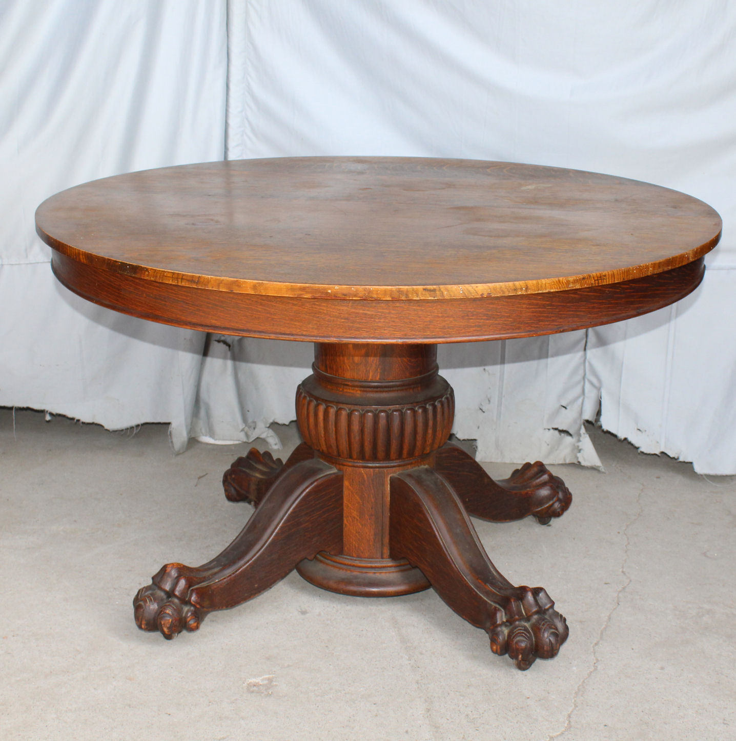 Antique Round Oak Dining Table Claw Feet